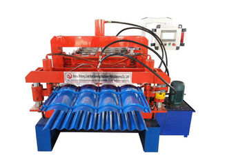 China Glazed Tile Double Layer Roll Forming Machine Sprocket P-25.4 Roller Station 13-14 Rows supplier