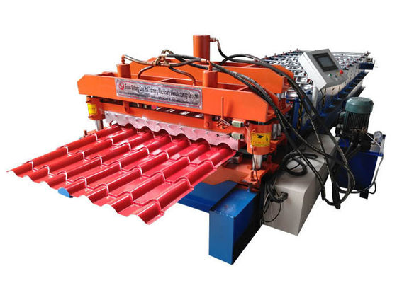 China PPGI Roof Glazed Tile Roll Forming Machine Blue / Orange Color With PLC Control System supplier