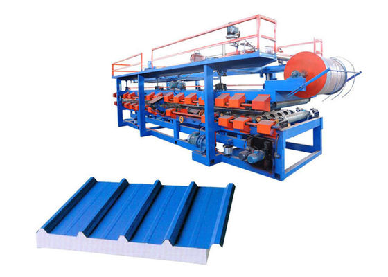 China Power 32 Kw Steel Pu Sandwich Panel Machine , Pu Sandwich Panel Production Line supplier