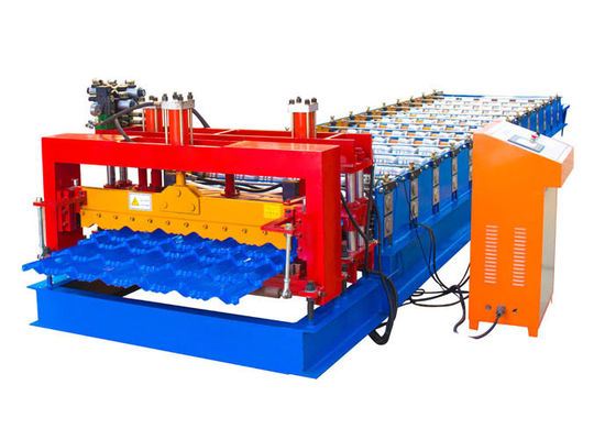 Easy Operation Steel Tile Forming Machine , Roof Tile Forming Machine Material Width 1250mm
