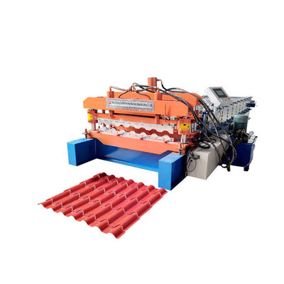 China Bamboo Glazed Roof Tile Roll Forming Machine Metal Steel Step Tile Making Machine supplier