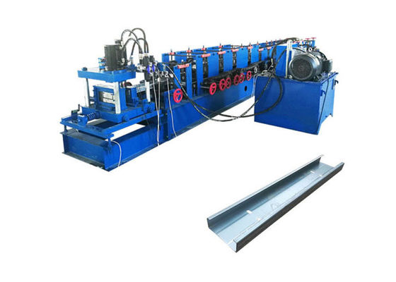 China Automatic C Shape Purlin Roll Forming Machine Blue Color Galvanized Coil Material distributor