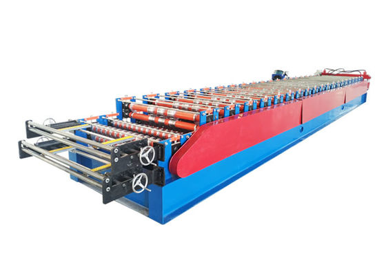 China Two designs of the steel roofing double layer roll forming machine with automatic program factory