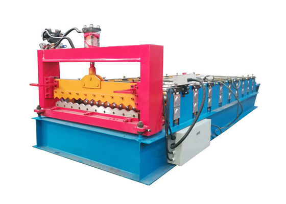 China PPGI Color Steel Roll Forming Machine , Corrugated Roof Sheet Machine With Smooth Feed Plate factory