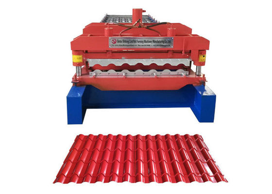 China Waterproof Glazed Tile Roll Forming Machine Middle Plate 16mm Weight 3.5-6 Ton factory