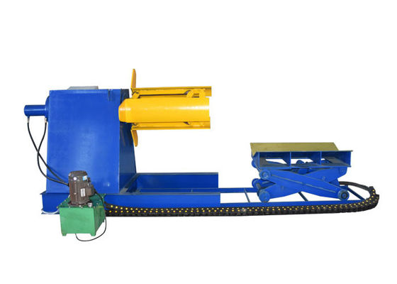 China Blue Color Hydraulic Decoiler Machine / Steel Coil Decoiler For Metal Roofing Equipment factory