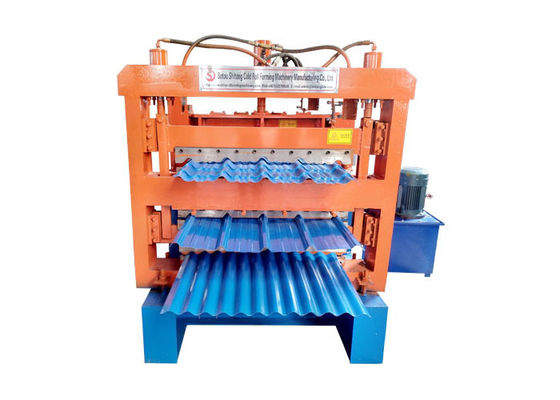 China Three Layer Ibr Sheet Roll Forming Machine , Blue / Orange Corrugated Metal Roofing Machine factory