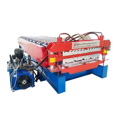 China Double Trapezoidal Tile Wall Corrugated Sheet Roll Forming Machine Fully Automatic distributor