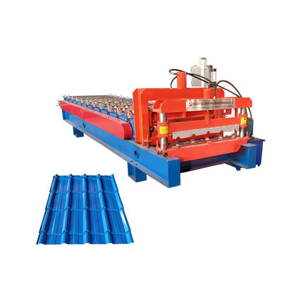 China Color Glazed Tile Roll Forming Machine / Coated Steel Step Tile Roll Forming Machine factory