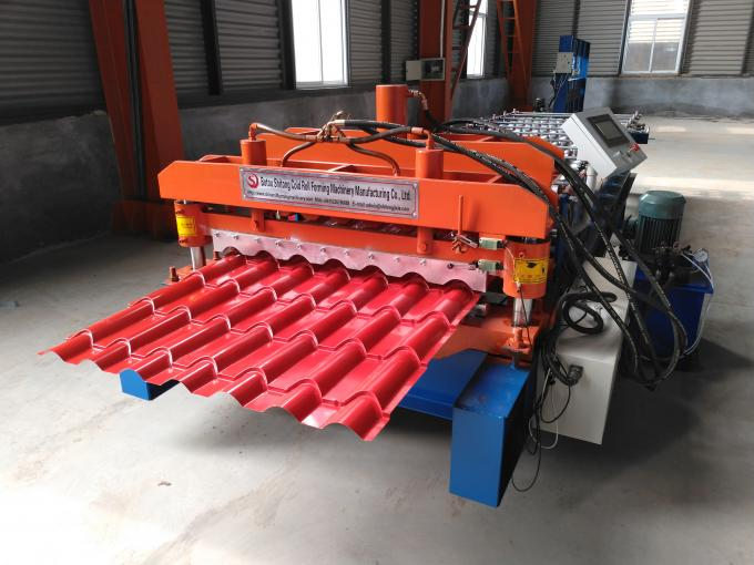Bamboo Glazed Roof Tile Roll Forming Machine Metal Steel Step Tile Making Machine