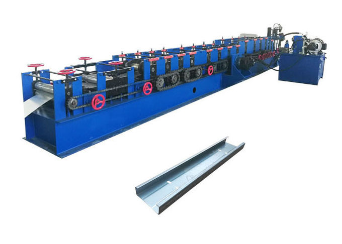 Adjustable Size Purlin Roll Forming Machine Forming Steps 12 Rows 40# Hydraulic Oil