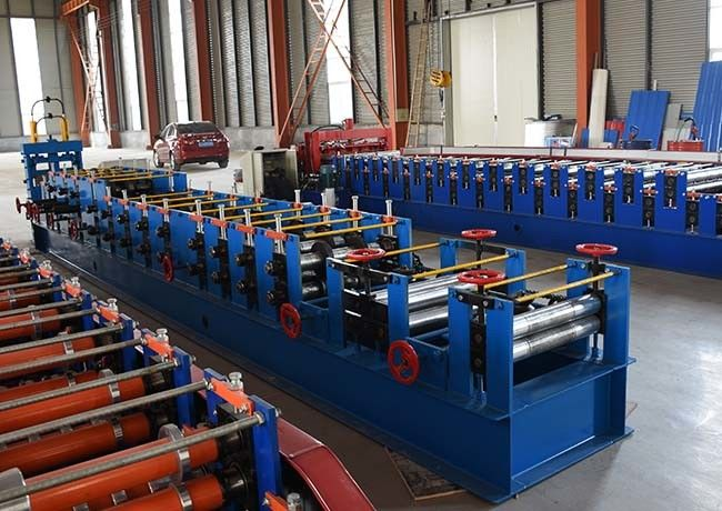 Automatic C Shape Purlin Roll Forming Machine Blue Color Galvanized Coil Material