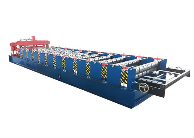 PPGI Roof Glazed Tile Roll Forming Machine Blue / Orange Color With PLC Control System