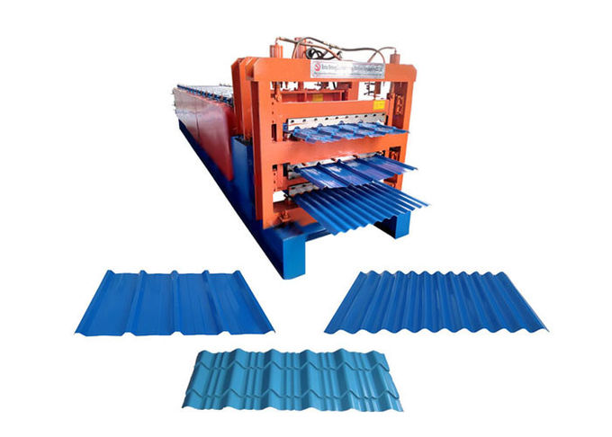 Aluminum Tile Corrugated Roll Forming Machine , Three Layer IBR Sheet Making Machine